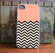 iPhone Case Peach Chevron