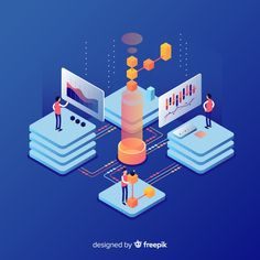 Isometric concept of people working with technology Free Vector Whale Illustration, Illustration Sketches, Isometric Design, Web Design, Graphic Design, School Projects, Vector Free, Design Inspiration, Concept
