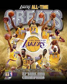 LA Lakers All-Time Greats (9 Legends) Premium Poster Print - Photofile Inc