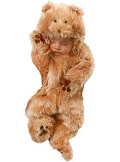 This bear costume jumpsuit is made from % polyester fleece with a back zipper closure. The mitts are attached and it comes complete with shoe covers and a hood with stuffed ears. Since this child bear costume also comes in toddler, adult, and plus sizes, you can get the whole family into character!