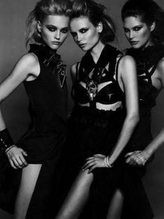 """Ca c'est Paris"" Sasha Pivovarova,Natasha Poly & Catherine McNeil photographed by Peter Lindbergh for Vogue Paris 2008"
