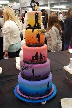 Silhouette Wedding Cake Multicolors