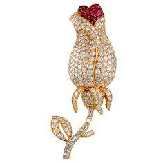 CARTIER Diamond Ruby Flower Pin