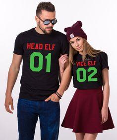head elf vice elf matching shirts matching couples christmas shirts matching couples christmas outfits 100 cotton tee unisex