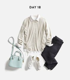 The sweater and shirt are cute. I even like the sweat pants. Don't like the shoes and don't need the purse.