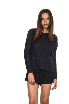 Womens Long Sleeve Blaine Pullover Sweater Ripped Exposed Back Navy-L #fashion #women #style #cardigan #sweater #shirt #onegreyday
