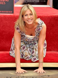 Jen getting her star on The Hollywood Walk of Fame.