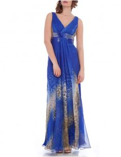DELORIS is a flowy blue maxi dress with a heavily sequined wasitline - £245