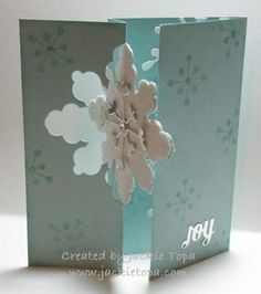 Snowflake Flip Card with Gift Card Holder using Stampin' Ups flip card framelit. Free Video Tutorial.