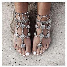 Lolita Abraham Silver Flat Sandals