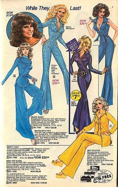 - pictures on the ads always looked better vintage fashion style color photo print ad model magazine blue yellow pants 70s Inspired Fashion, 60s And 70s Fashion, Fashion Mode, Retro Fashion, Vintage Fashion, Seventies Fashion, Vintage Couture, Disco Party, 70s Outfits