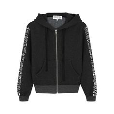 WILDFOX BLACK PRINTED JERSEY SWEATSHIRT. #wildfox #cloth Python Print, Harvey Nichols, Saved Items, Wildfox, Black Print, Fitness Models, Zip, Printed, Sweatshirts