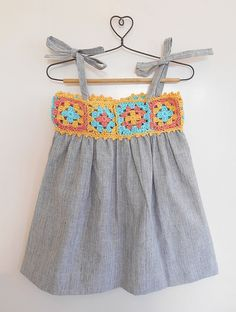 Buy Grey Yellow Blue Sundress with Orange Crochet Yoke Khadi Cotton Dress Knitting Kids Dresses/Jumpsuits Fun in the Sun dresses details for Online at Jaypore.com