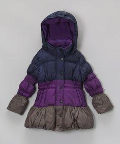 Purple Color Block Bubble Puffer Coat - Girls