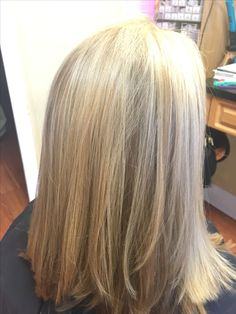Corrective color, added blonde highlights to break up box colored red roots