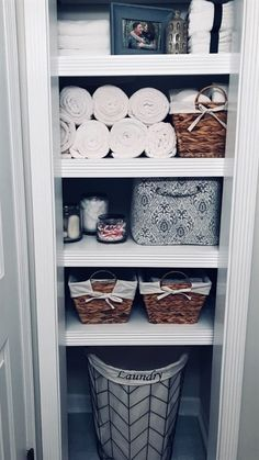 Clever ways to rethink the linen closet - # poss . Clever ways to rethink the linen closet – # Linen closet Linen Closet Organization, Home Organisation, Storage Organization, Closet Storage, Bathroom Closet Organization, Bathroom Linen Closet, Organization Ideas For The Home, Bathroom Shelves, Storage Ideas