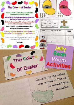 A student-made Easter book, around the room activity, art activity, and classroom display based on The Colors of Easter poem. The Colors of Easter is a fun, meaningful way for children to relate jelly bean colors to the story of the crucifixion and resurrection of Jesus. https://www.teacherspayteachers.com/Product/The-Colors-of-Easter-Jelly-Bean-Poem-Christian-Activities-Printable-Book-1755538