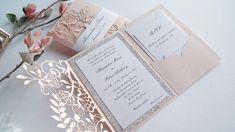 Elegant Wedding Invitations, Pinterest Wedding Invitations, Wedding Pinterest, Wedding Stationery, Invitation Fonts, Pocketfold Invitations, Glitter Invitations, Coral Blush, Small Cards