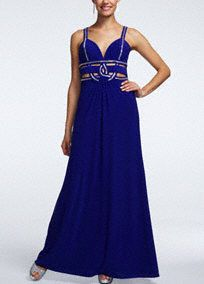 Stylish and on trend, this polished metallic prom dress is perfect for any true fashionista!  Spaghetti strap bodice features eye-catching and chic metallic detail.  Sultry cut-outs adorn empire waist.  Long jersey skirt adds movement and creates a flowy feel.  Fully lined. Back zip. Imported polyester/spandex blend. Professional spot clean.