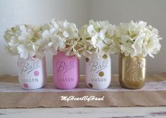 Pink and Gold Mason Jar Centerpieces, Baby Shower Mason Jars, Painted Ball Jars, First Communion Centerpieces, Polka Dot Decorations, Vases by MyHeartByHand on Etsy https://www.etsy.com/au/listing/264513966/pink-and-gold-mason-jar-centerpieces