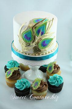 Gâteau de mariage Paon - Wedding Cake Peacok