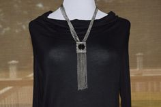 Vintage Silver Fringe Long Necklace with Yves St. Laurent button by Vswaggercouture on Etsy
