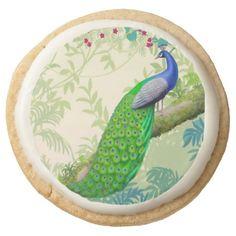 Exotic Indian Blue Peacock Shortbread Cookies Round Sugar Cookie #cookies  #peacock  #peafowl  #sweet
