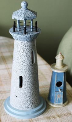 Rustic Lighthouses Rustic Shabby Chic Painted Blue Wooden Light Houses Set of Two Home Decor Decorations Beach Theme Decor by Creationville on Etsy