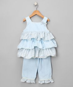 Take a look at this Light Blue Blueberry Tunic & Capri Pants - Toddler & Girls by Candyland on #zulily today!