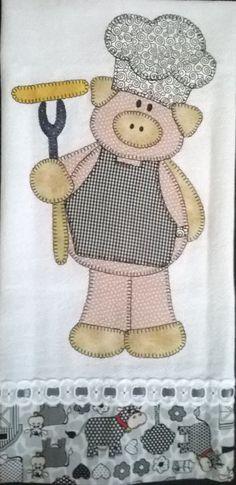 El cerdito chef Applique Tutorial, Applique Templates, Applique Patterns, Applique Designs, Wool Applique, Applique Quilts, Embroidery Applique, Machine Embroidery, Pig Crafts