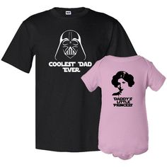 Coolest Dad Ever and Daddy's Litle Princess Father T-Shirt Daughter Bodysuit Matching Set First Father's Day Funny Baby Shower Gift Idea