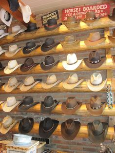 Cowboy hats :) Imagine walking into your closest and seeing this! Cowgirl Hats, Western Hats, Cowboy And Cowgirl, Western Outfits, Western Wear, Cowboy Boots, Cowboy Hat Styles, Cut Up Shirts, D Avila