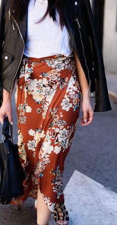 #fall #fashion / floral wrap skirt + leather