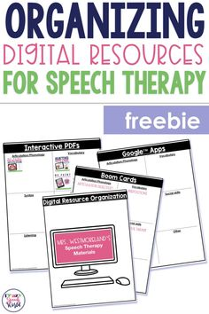 Organizing digital materials for speech therapy, plus free download Articulation Therapy, Articulation Activities, Speech Therapy Activities, Speech Language Pathology, Speech And Language, Speech Therapy Organization, Pen And Paper, Vocabulary, Organize