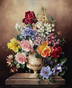 Harold Clayton (1896-1976) - Still life with summer flowers, oil on canvas