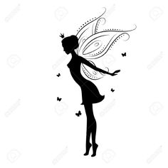 Beautiful Fairy Silhouette Royalty Free Cliparts, Vectors, And ...