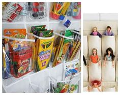 Use an over-the-door pocket shoe organizer for nursery storage.