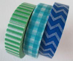 Washi Tape  3 Rolls  Green Stripes Blue Checkered by HazalsBazaar, $6.75