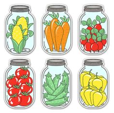 Digital Vegetable Mason Jar Tags / collage sheet by KBandFriends. Jar Labels, Food Labels, Mason Jar Tags, Art For Kids, Crafts For Kids, Floral Printables, Scrapbook Embellishments, Collage Sheet, Kindergarten Activities