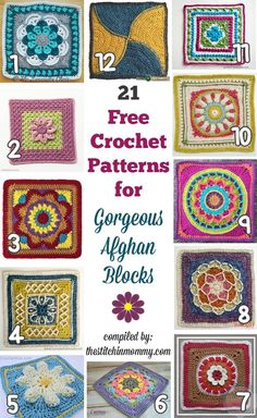 Hottest Snap Shots Crochet afghan blocks Strategies 21 Free Crochet Patterns for Gorgeous Afghan Blocks compiled by The Stitchin' Mommy Crochet Afghans, Motifs Afghans, Crochet Squares Afghan, Crochet Motifs, Granny Square Crochet Pattern, Crochet Blocks, Afghan Crochet Patterns, Crochet Cushions, Crochet Pillow