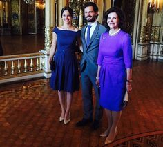 "Queen Silvia of Sweden, Prince Carl Philip and Princess Sofia of Sweden at the inauguration of ""The Lilian Look"" exhibition. The exhibition Designs for a Princess – The Lilian Look! will be on display at the Royal Palace of Stockholm from 29 August 2015 until 6 January 2016."
