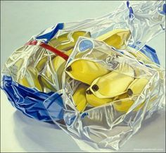 Janet Fish- photorealist. The point is to eliminate the artists hand. This is a painting made to look like a photo. The skill in this takes a lot of patience.