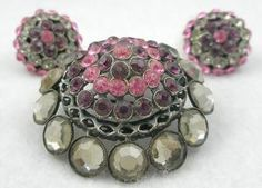 alice caviness jewelry   Alice Caviness Domed Brooch Set - Garden Party Collection Vintage ...