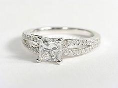 Micropavé Loop Diamond Engagement Ring in 14K White Gold #BlueNile #Engagement