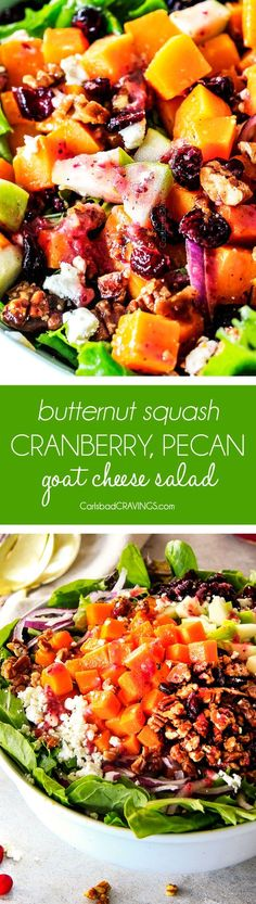 Roasted Brussels Sprouts Salad with Cranberries, Caramelized Pecans and Goat Cheese with the most incredible CRANBERRY VINAIGRETTE belongs on your table this Thanksgiving and all Autumn long! This is one of my favorite salads EVER and is the perfect STRESS FREE make ahead side!!! #thanksgivingsalad #butternutsquash #salad #cranberry