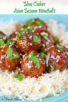 Slow Cooker Asian Sesame Meatballs ~ http://FlavorMosaic.com