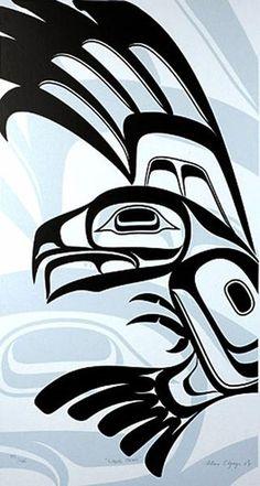 Eagle Strike by Native American Artist Alano Edzerza is a The Silkscreen Print limited to an edition of Eagle is the symbol of great wisdom, and power. Haida Tattoo, 1 Tattoo, Tatoo Art, Inca Tattoo, Raven Tattoo, Haida Kunst, Haida Art, Arte Inuit, Inuit Art