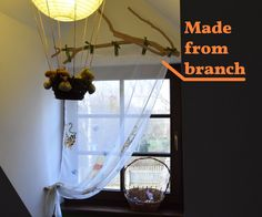 Natural Curtain Rods Made From Branches. How to Make and How to Hang. Natural Curtains, Hanging Curtains, Curtain Rods, Branches, Fairy, Diy Projects, Cottage, Decoration, How To Make