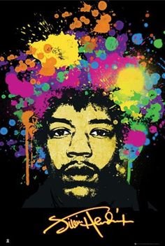 A brilliantly psychedelic, paint-splattered portrait of rock music legend Jimi Hendrix. Born Johnny Allen Hendrix, Jimi Hendrix was a American singer, songwriter and musician who is widely held to be the greatest rock guitarist in history, widely influencing other musicians and genres of music.