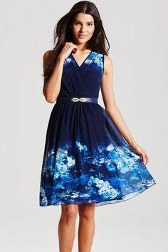 5beb27582618 Blue Floral Crossover Dress Day Dresses